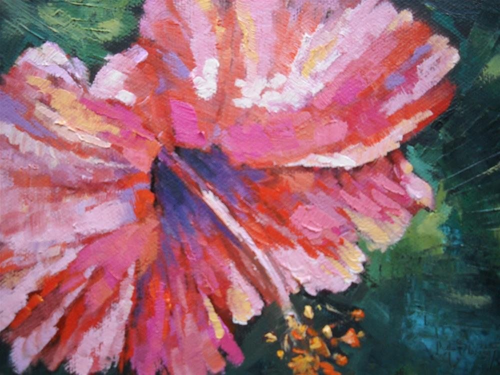 """Small Floral, Daily Painting, Pink Power by Carol Schiff 5x7 Oil SOLD"" original fine art by Carol Schiff"