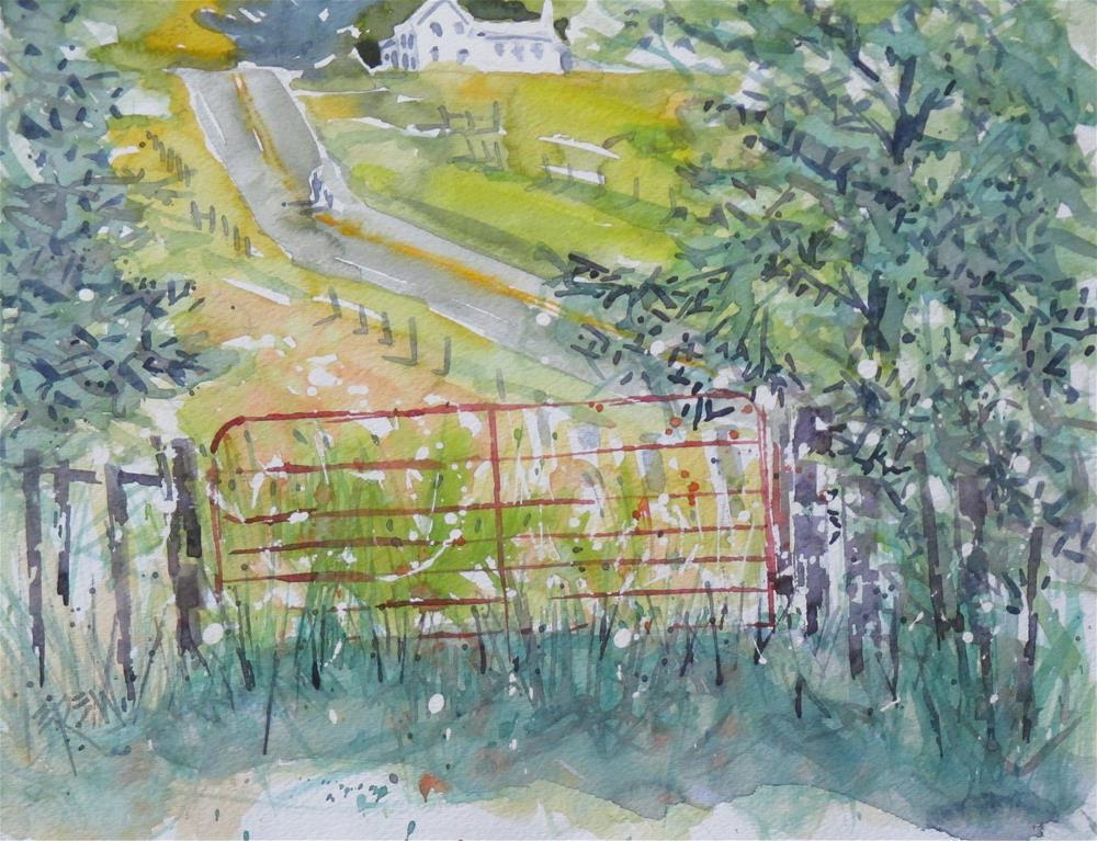 """""""Red Cattle Gate by Larry Lerew 160705"""" original fine art by Larry Lerew"""