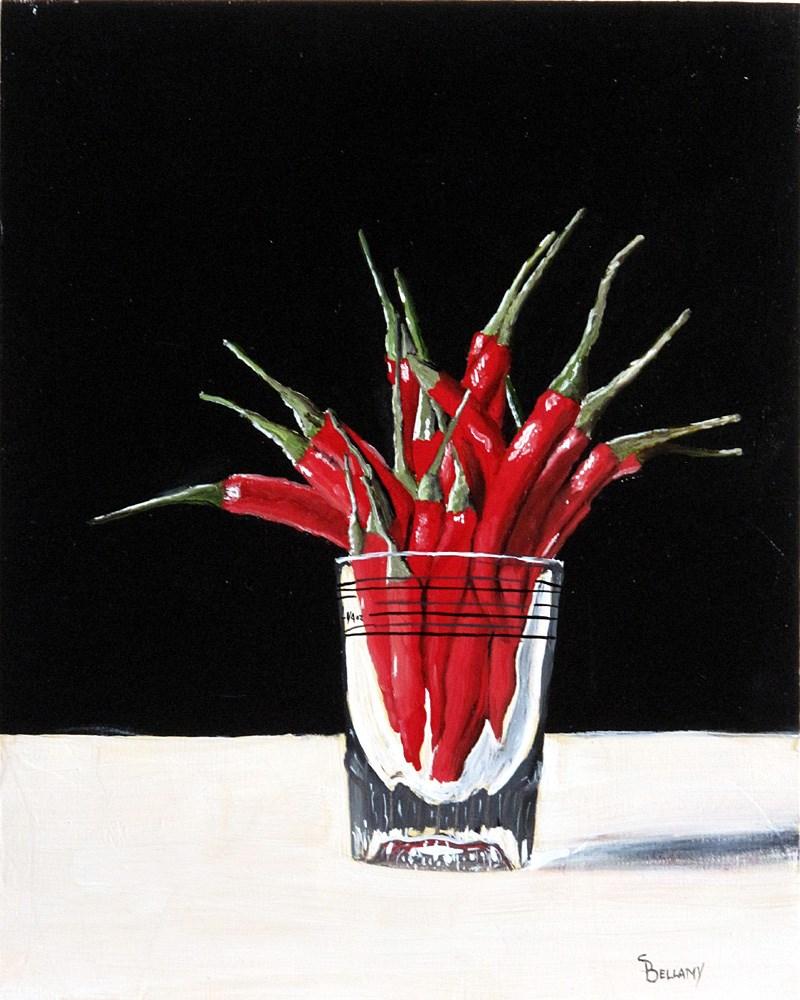 """Peppers in a Shot Glass"" original fine art by Sherry Bellamy"