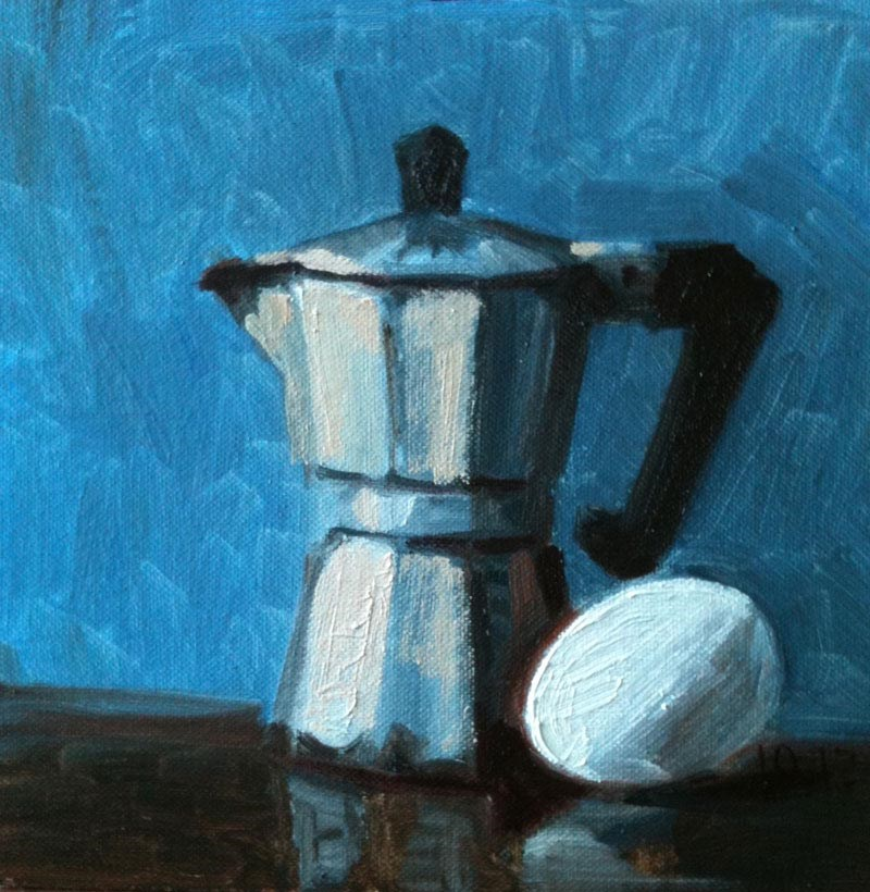 """Espresso Pot and Egg"" original fine art by Megan Schembre"