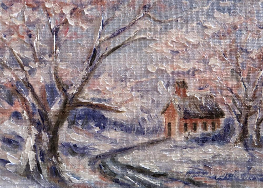"""Schoolhouse in Winter"" original fine art by Tammie Dickerson"