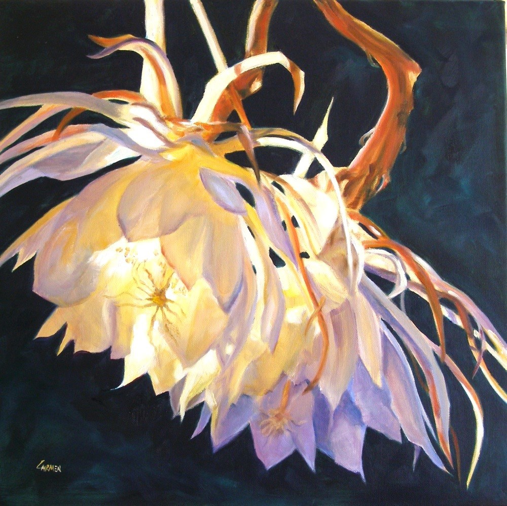 """Dragonflower, 20x20 Oil on Canvas, Floral Painting"" original fine art by Carmen Beecher"