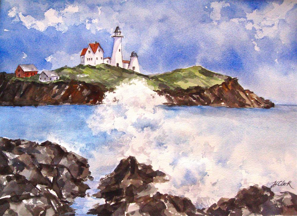 """Lighthouse in Maine"" original fine art by Judith Freeman Clark"