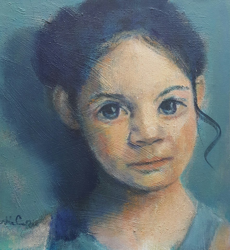 """Thinking of childhood"" original fine art by Rentia Coetzee"