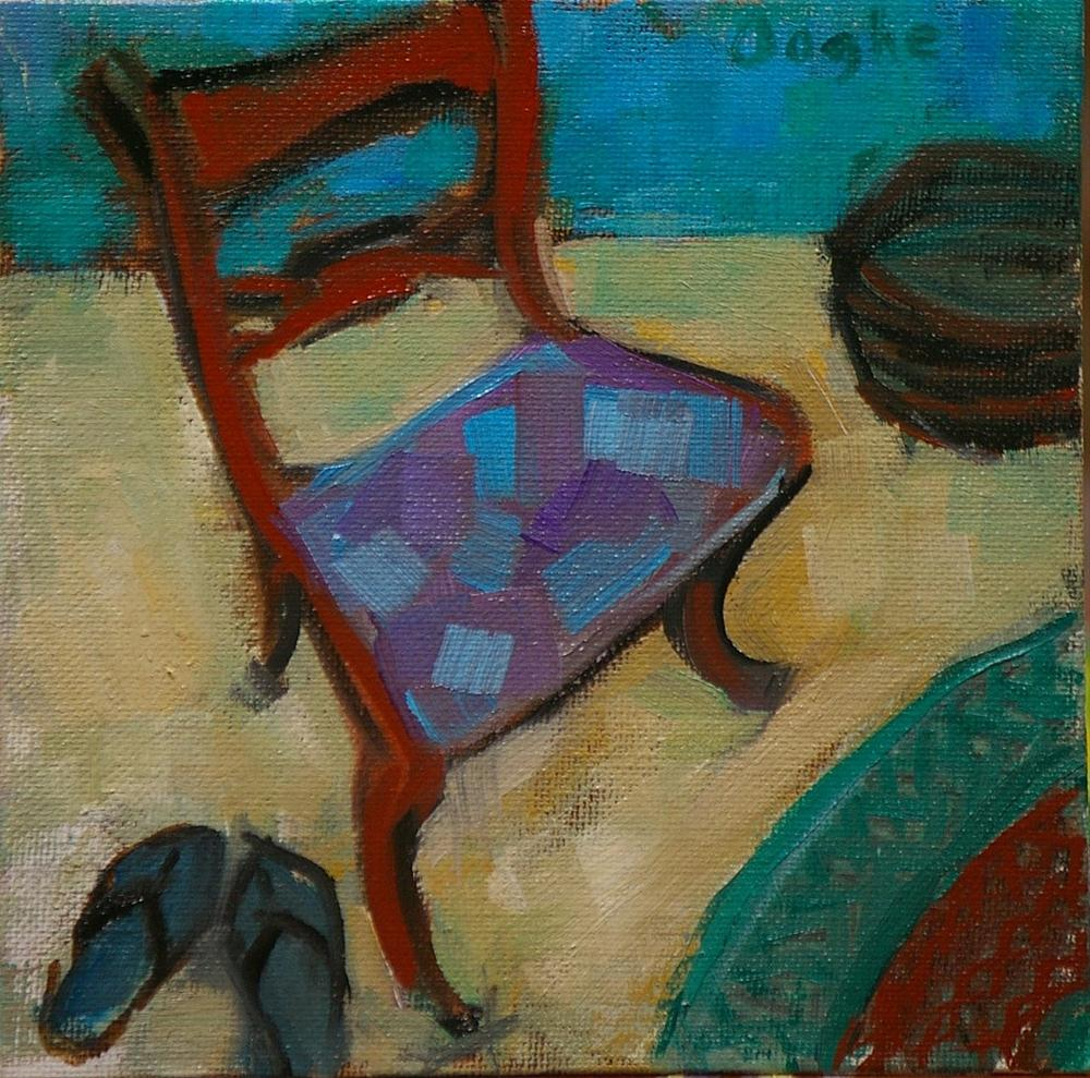 """Still life with Chair and Flip-Flops"" original fine art by Angela Ooghe"