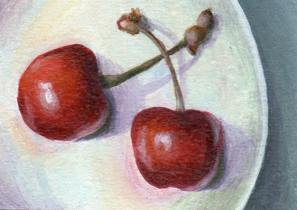 """Cherry Pair"" original fine art by Debbie Shirley"