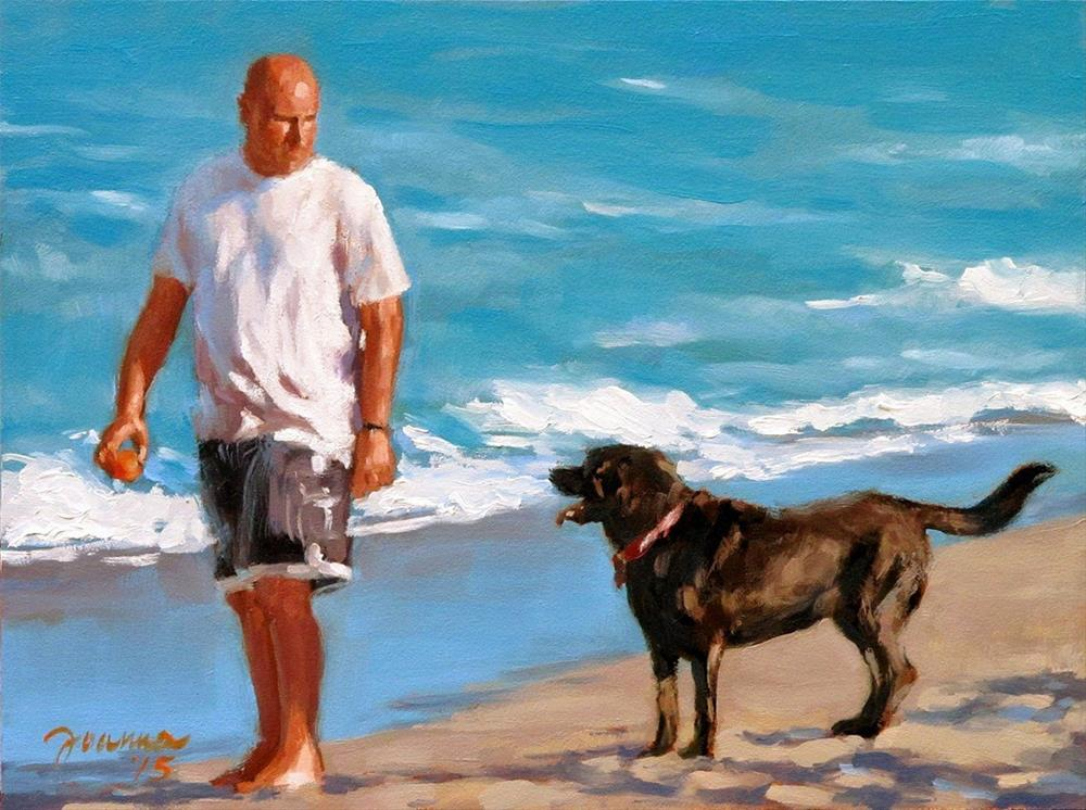 """Let's Play -- Series Painting of Dogs & Owners on the Beach"" original fine art by Joanna Bingham"