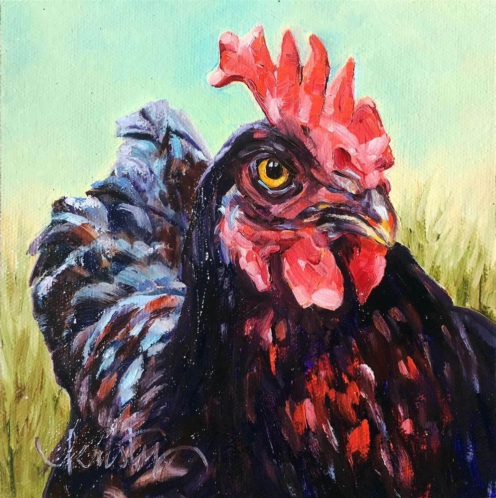 """FOWL MOOD"" original fine art by Kristy Tracy"