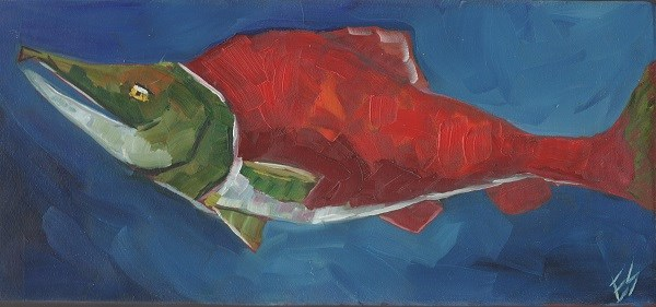 """Salmon On Wooden Block"" original fine art by Elizabeth See"