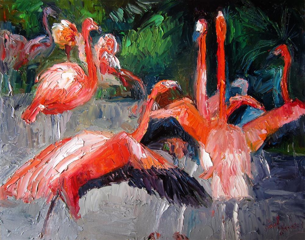 """Flamingos"" original fine art by Carol Steinberg"