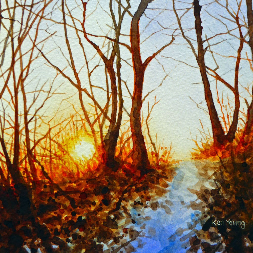 """Winter Sunset"" original fine art by Ken Young"