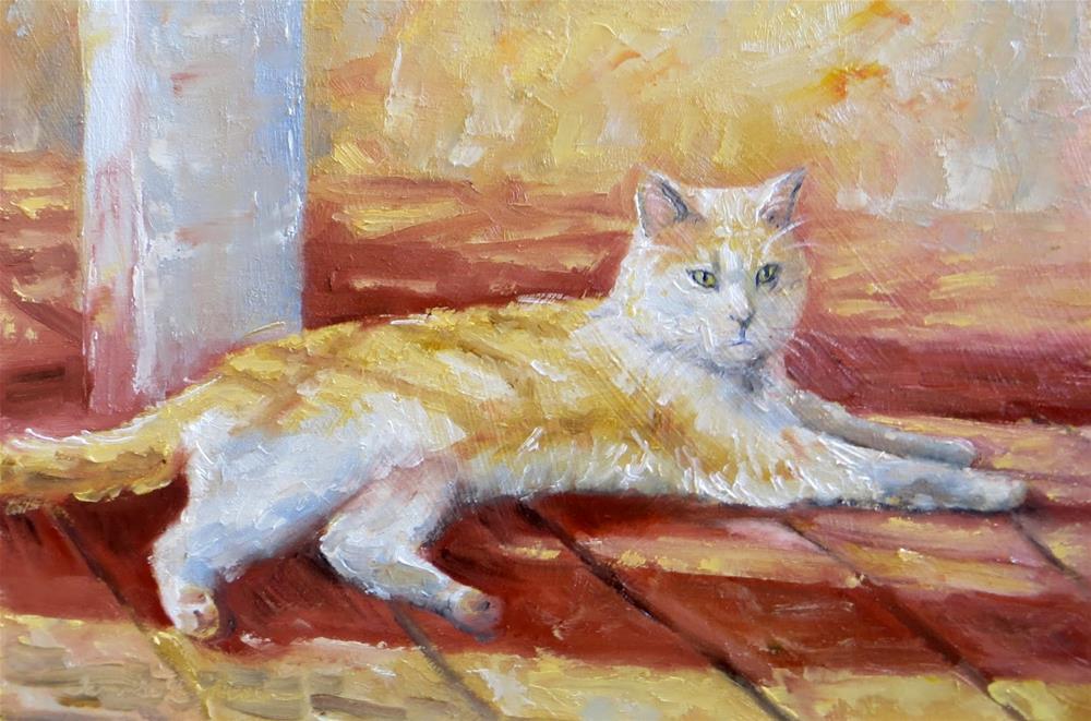 """Porch Kitty"" original fine art by Tammie Dickerson"