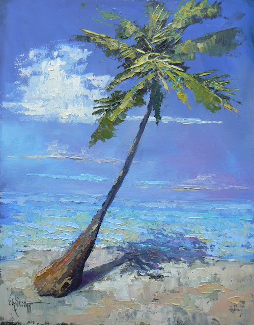 """Tropical Landscape Daily Painting in Oil, Island Vibe 11x14"" original fine art by Carol Schiff"