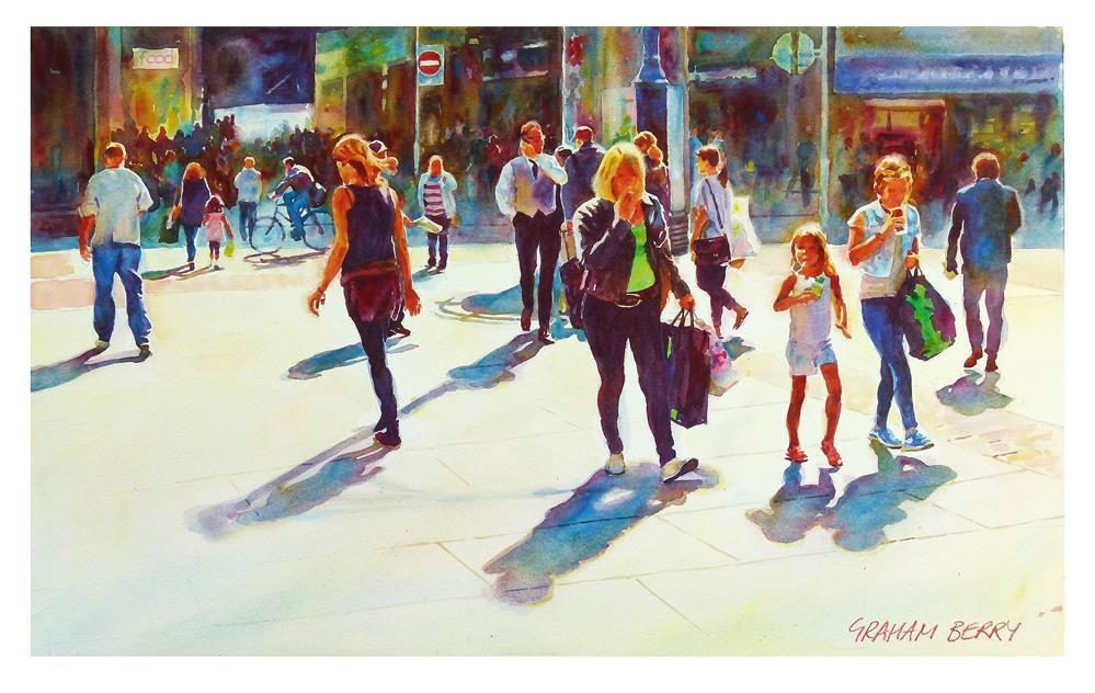 """""""City centre shoppers."""" original fine art by Graham Berry"""