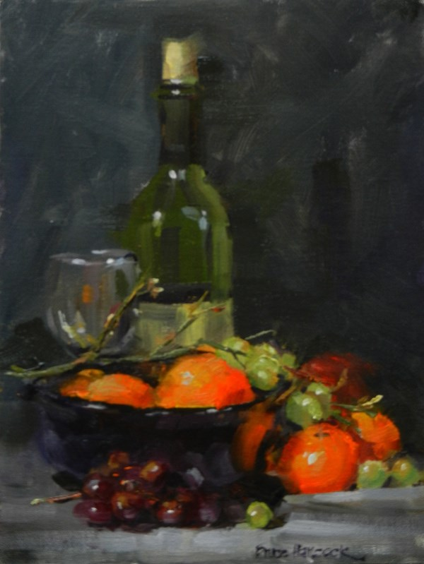 """Green Wine Bottle with Oranges and Grapes"" original fine art by Bruce Hancock"