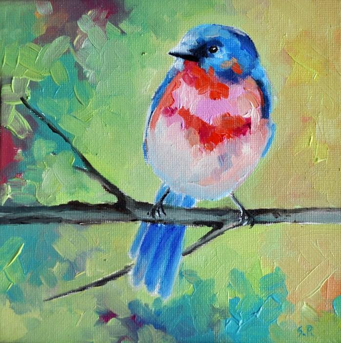 """""""Blue Bird  6x6 In"""" original fine art by Stefan Peters"""