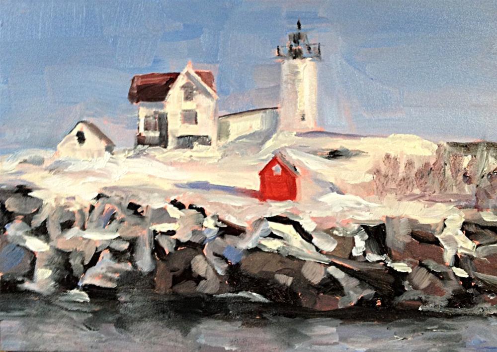 """""""Maine Lighthouse"""" original fine art by Kristen Dukat"""