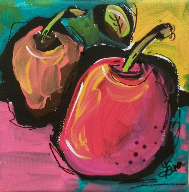 """Zany Apples"" original fine art by Terri Einer"