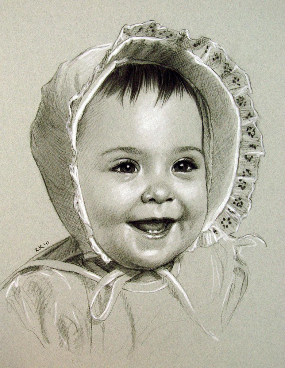 A Portrait Commission - Baby Bonnet original fine art by Rita Kirkman