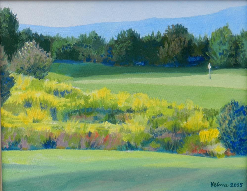 """Cochita Lake Golf Course"" original fine art by Velma Davies"