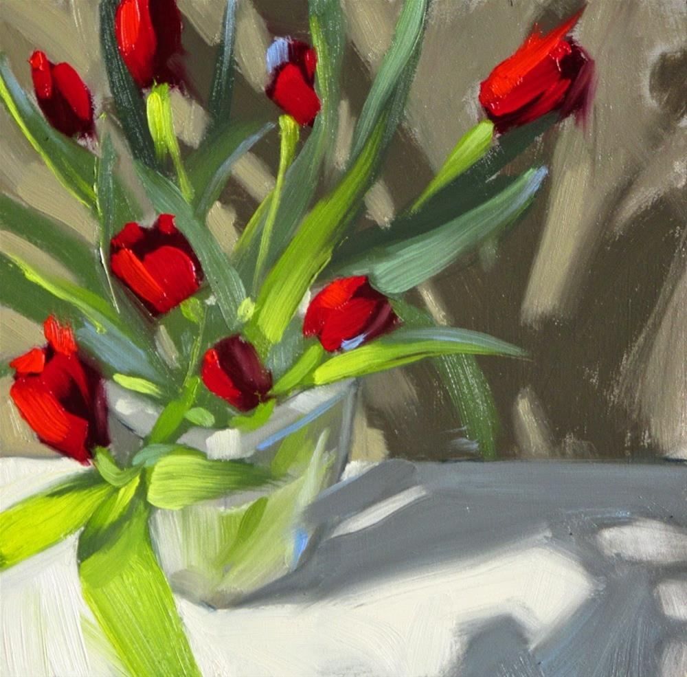 """Eight Tulips  6in x 6in  oil"" original fine art by Claudia Hammer"