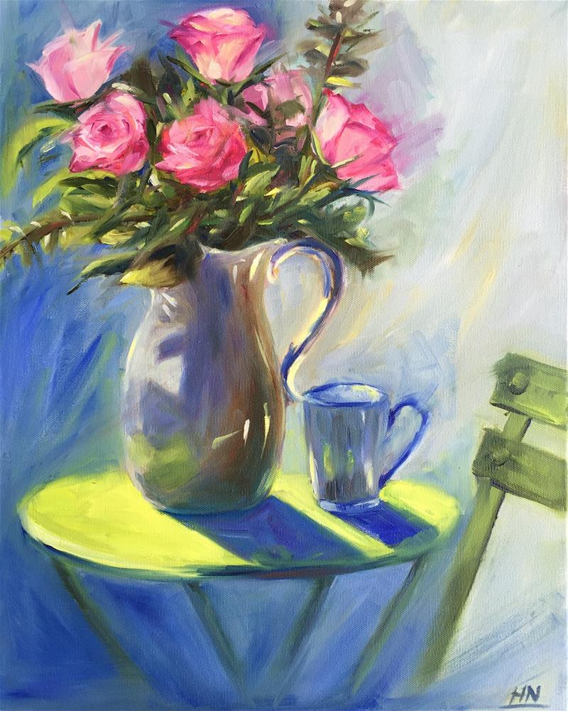"""Coffe Time"" original fine art by Hoda Nicholas"