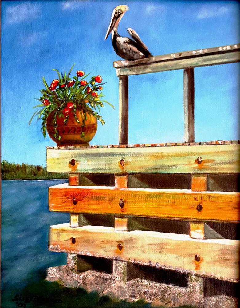 """""""Pelican on Pier"""" original fine art by Sissy Blakslee"""