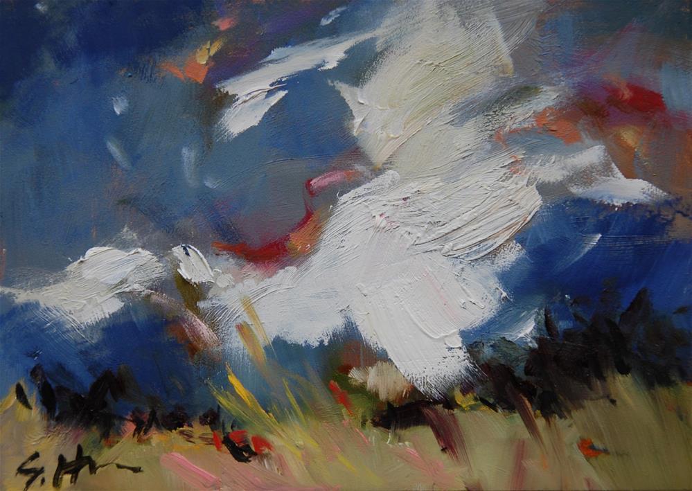 """""""Grassland Storm"""" original fine art by Susan Hughes"""