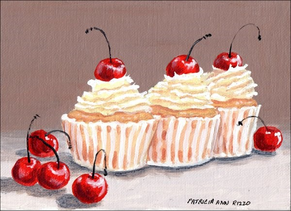 """Homemade Cherry Cupcakes"" original fine art by Patricia Ann Rizzo"