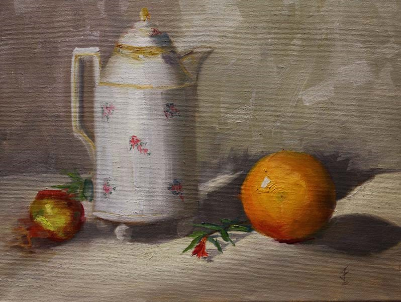 """Mom's Coffee Pot"" original fine art by Jane Frederick"