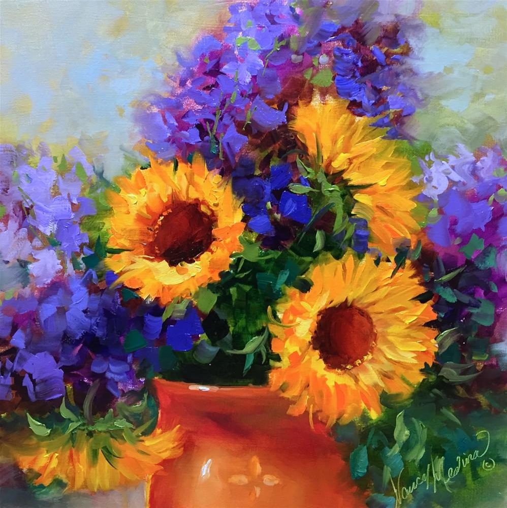"""Hothouse Sunnies and a Tuscany Workshop - Flower Painting Classes by Nancy Medina Art"" original fine art by Nancy Medina"