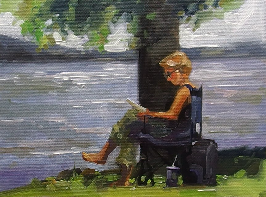 """No 844 Afternoon Read"" original fine art by Robin J Mitchell"