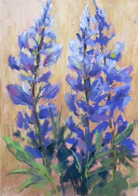 """Tips for Painting Lupines"" original fine art by Karen Margulis"