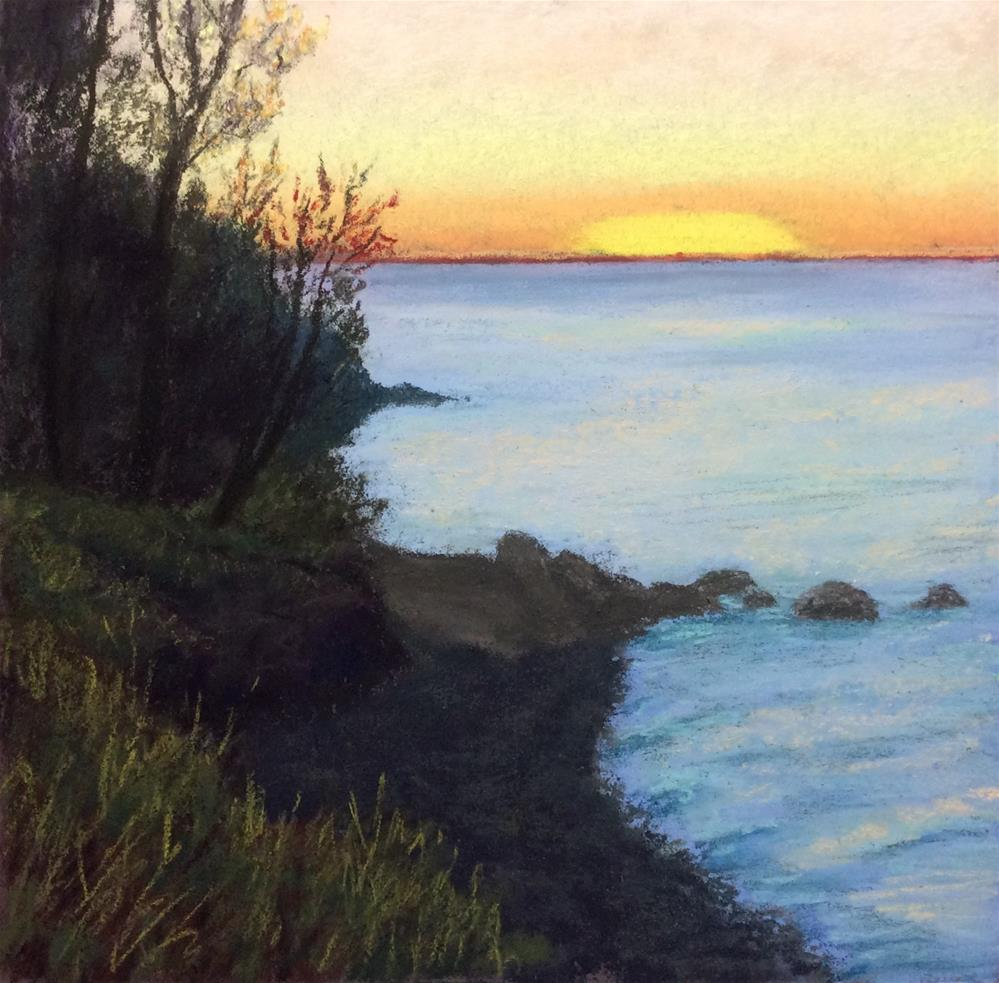 """SUNSET ON LAKE ONTARIO"" original fine art by Marti Walker"