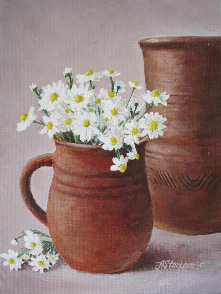 """Terracotta and White"" original fine art by Anna Starkova"
