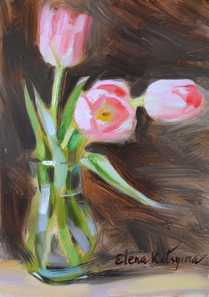 """Three Tulips"" original fine art by Elena Katsyura"