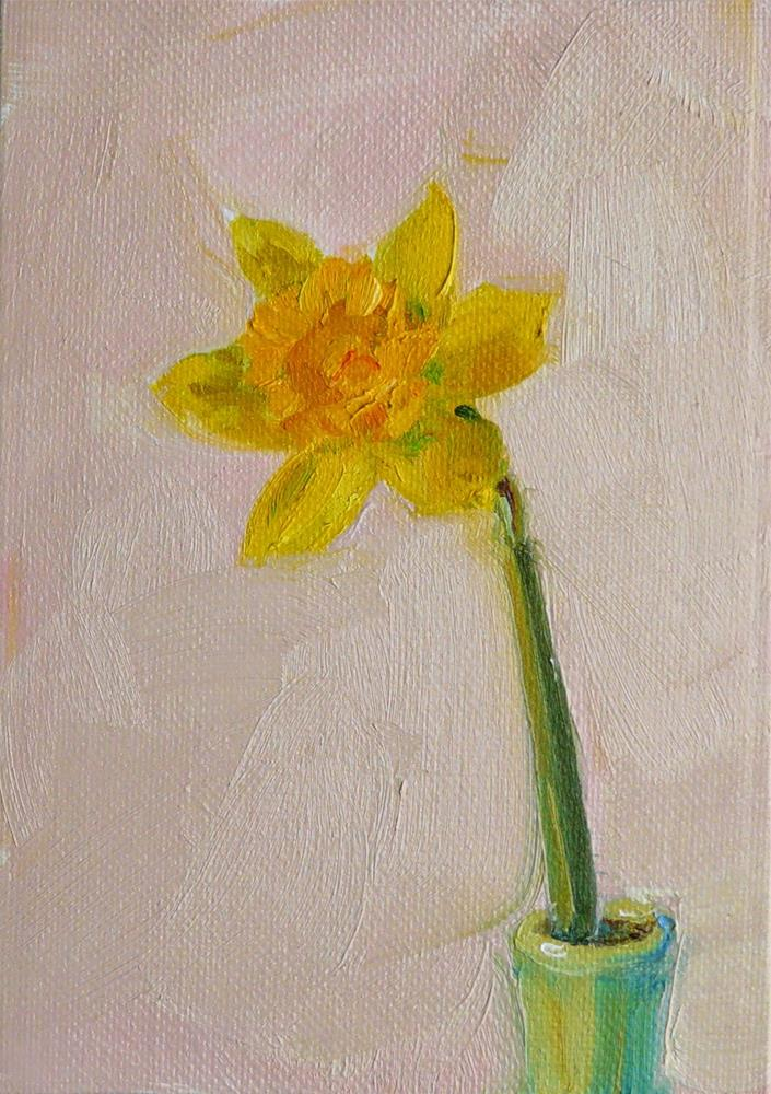"""Spring Daffodil,still life,oil on canvas,7x5,price$125"" original fine art by Joy Olney"