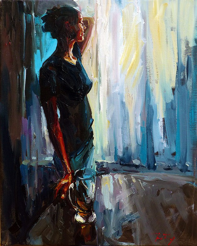 """Woman at the window"" original fine art by Jurij Frey"