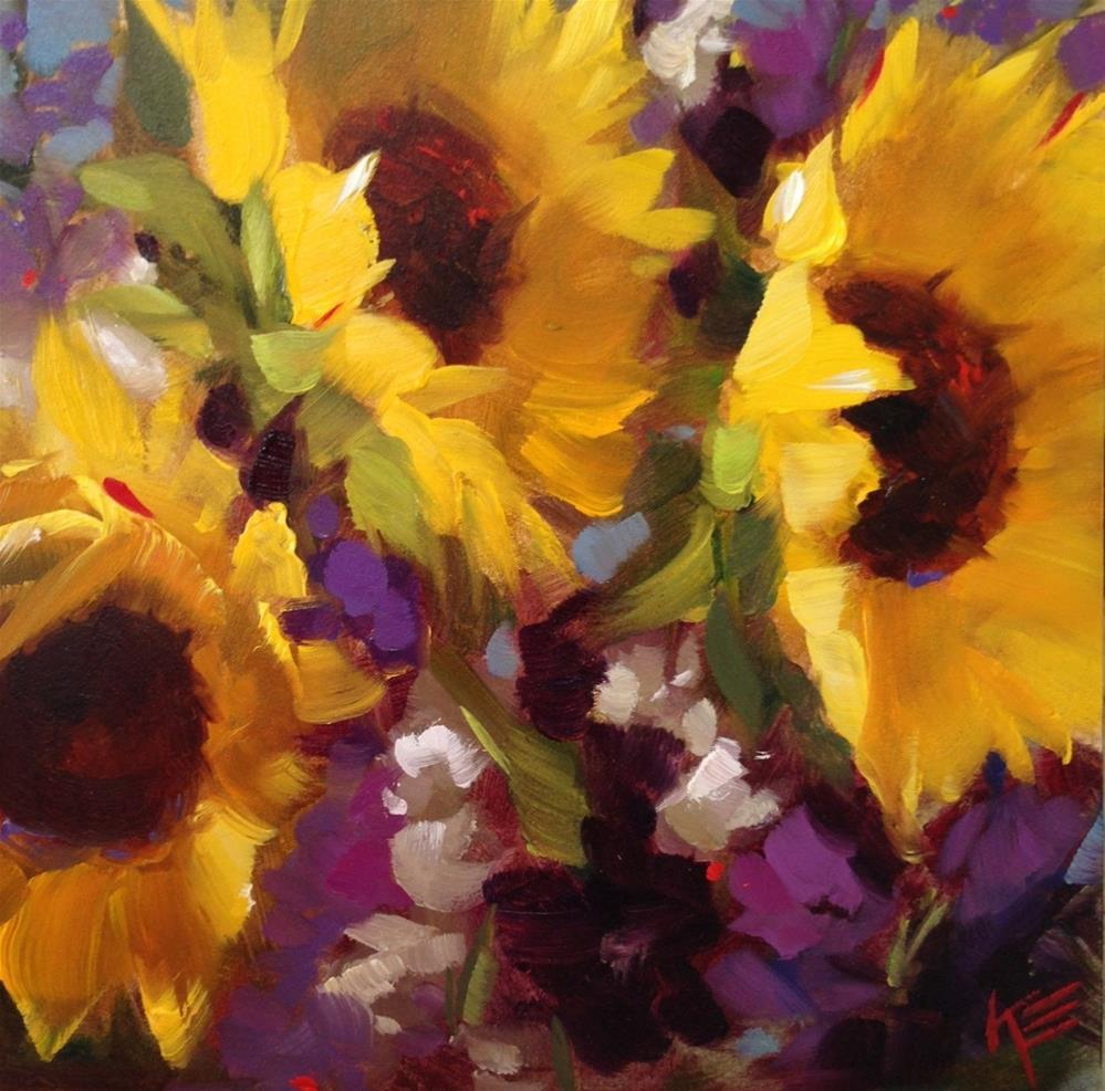 """Sunflowers & Stock III"" original fine art by Krista Eaton"