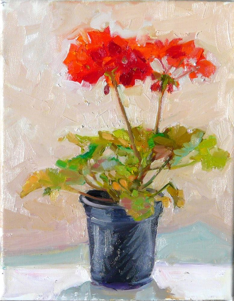 """April Geranium,still life,oil on canvas,10x8,price$250"" original fine art by Joy Olney"