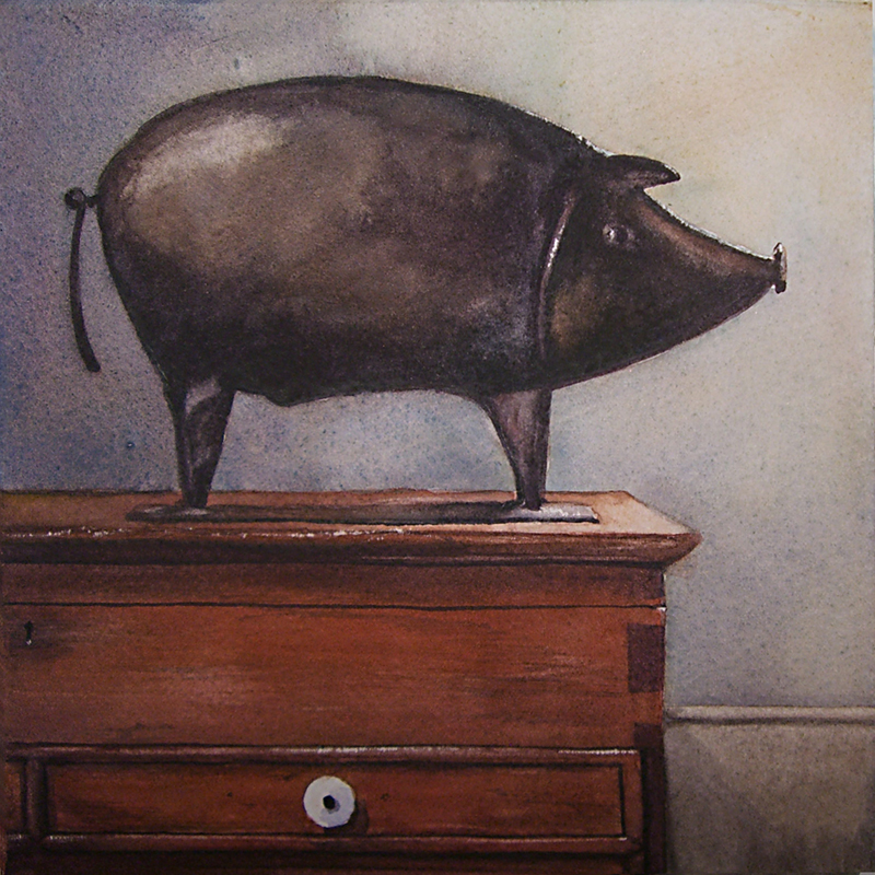 """Tin Pig"" original fine art by Kara K. Bigda"