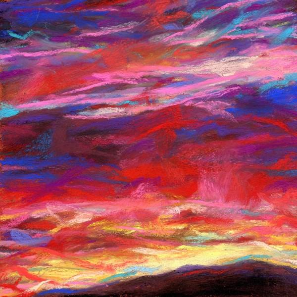 """SOLD  A FINAL EMBRACE - 4 1/2 X 4 1/2 sunset pastel by Susan Roden"" original fine art by Susan Roden"