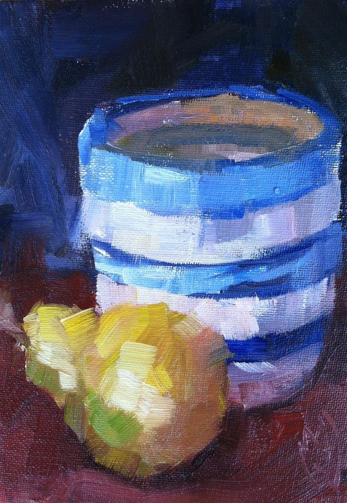 """Pear in Blue"" original fine art by Michael Williamson"