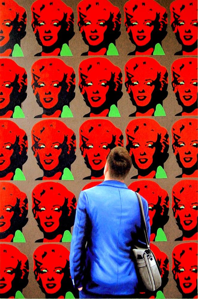 """Red Marilyns- Painting Of Man Enjoying Painting Of Marilyn Monroe By Andy Warhol"" original fine art by Gerard Boersma"