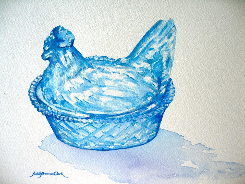 """""""Blue Hen-on-a-Nest"""" original fine art by Judith Freeman Clark"""