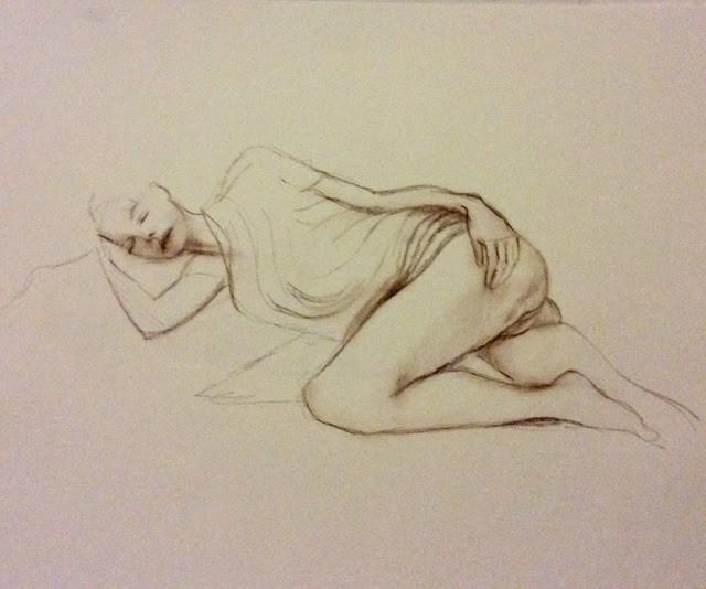 """Study of female nude reclining"" original fine art by Hilary J. England"