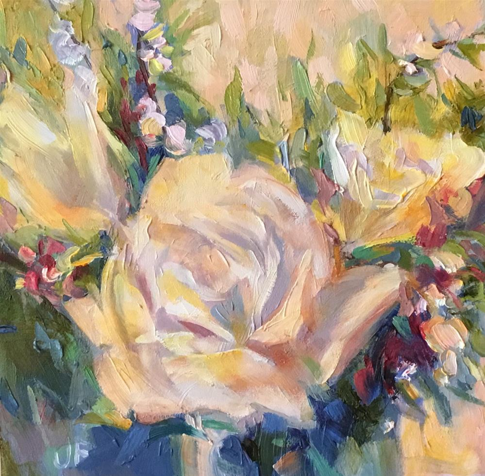 """White Roses"" original fine art by Jean Fitzgerald"