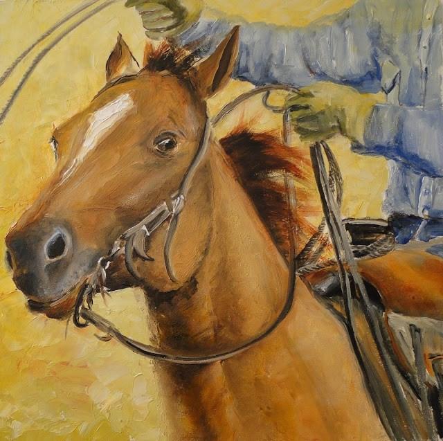 """""""Move 'em out"""" original fine art by Karen Robinson"""