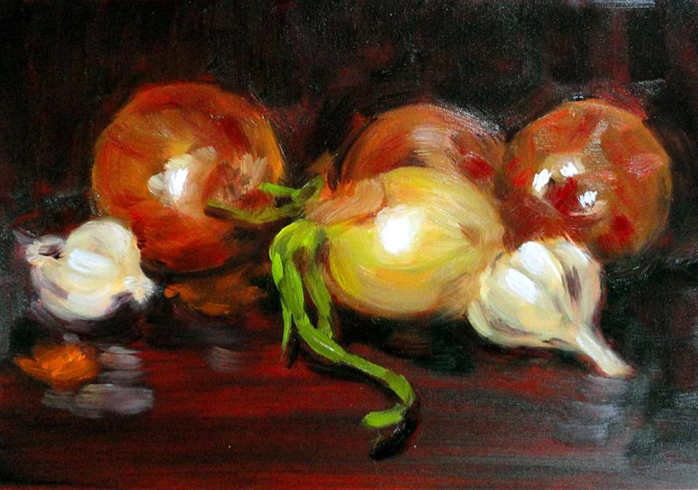 """More Onions & Garlic"" original fine art by Cietha Wilson"