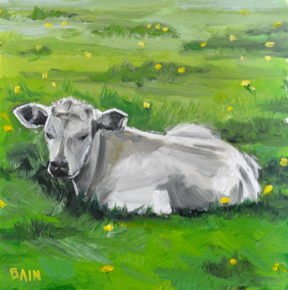 """Cow no. 4"" original fine art by Peter Bain"